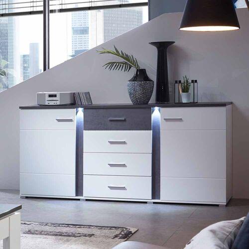 Wohnzimmer Sideboard in Weiß und Dunkelgrau LED Beleuchtung
