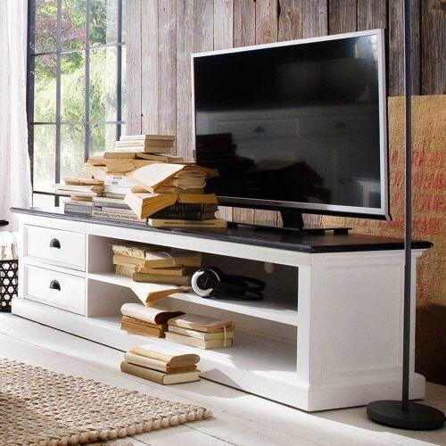 TV Unterschrank in Weiß Schwarz Landhausstil
