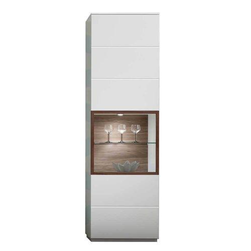 Wohnzimmer Vitrinenschrank in Weiß und Nussbaumfarben 60 cm breit