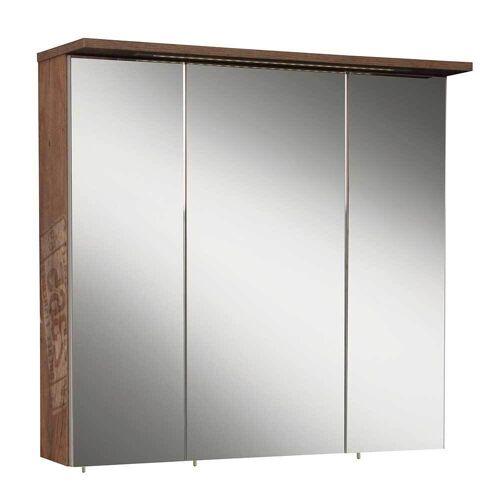 3 Türen Spiegelschrank in Holzpaletten Optik 70 cm breit