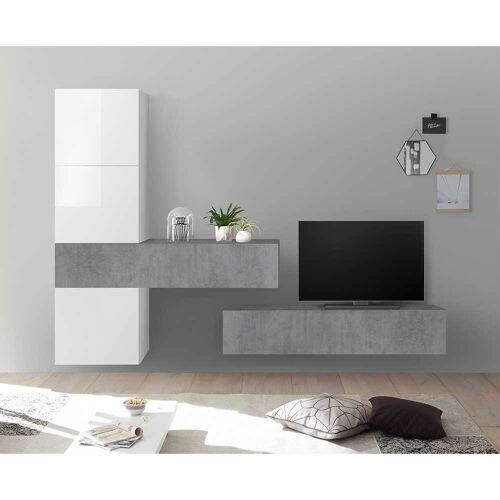 Fernseher Wohnwand in Weiß Hochglanz und Beton Grau Wandmonatage (5-teilig)