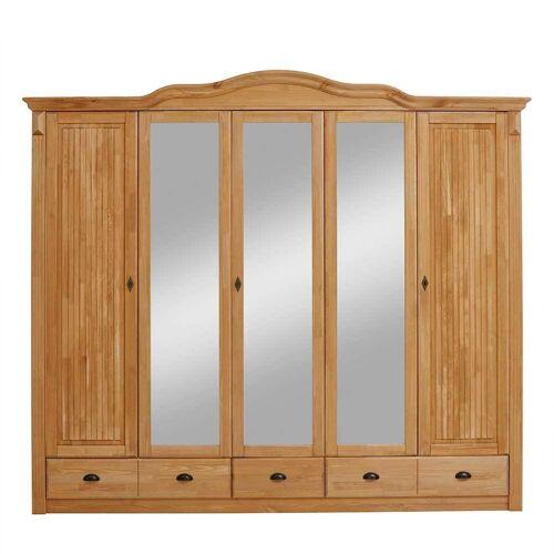 Schlafzimmerschrank aus Kiefer Massivholz Spiegeltüren