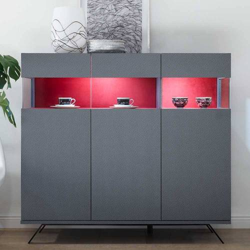 Highboard in Anthrazit und Rot modern