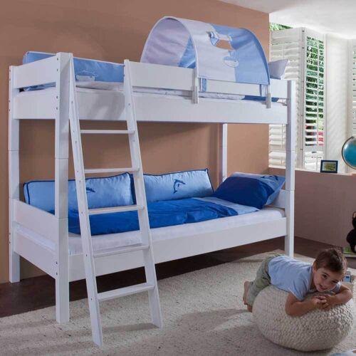 Stockbett in Blau-Weiß Weiß