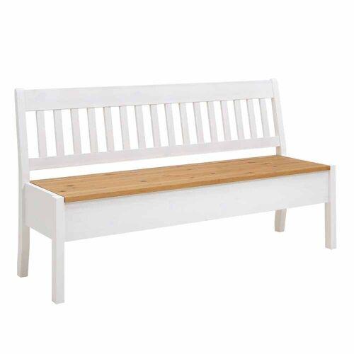 Landhaus Sitzbank mit Truhe Kiefer Weiß