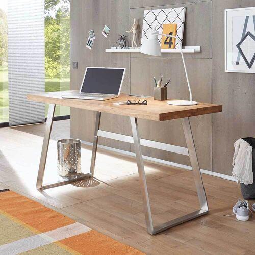Schreibtisch mit Massivholzplatte Metall