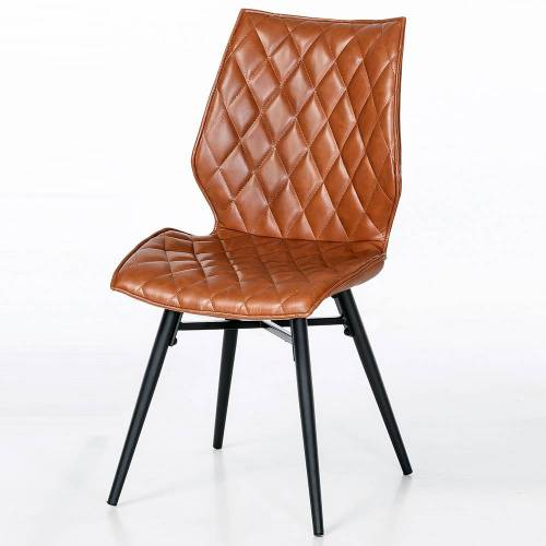 Braun Stuhl Set in Braun gesteppt Metallgestell (2er Set)