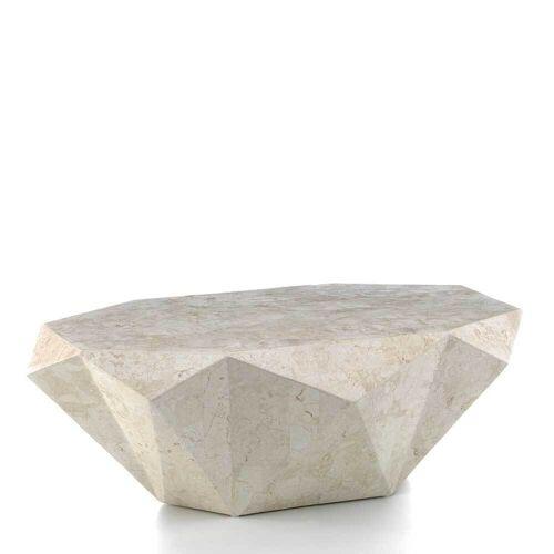 Wohnzimmer Couchtisch aus Stein Creme Weiß