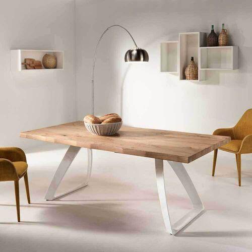 Baumkanten Esstisch aus Eiche Weiß Metall
