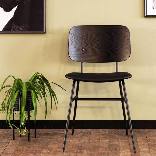 Retro Esstischstühle in Schwarz Metallgestell (2er Set)