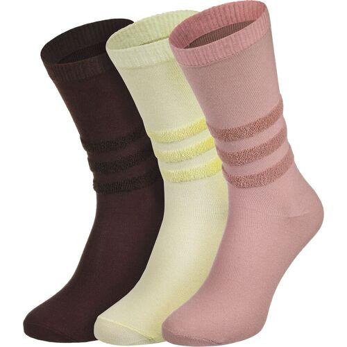 Adidas Socken, Gr. 43-46, gelb weinrot pink