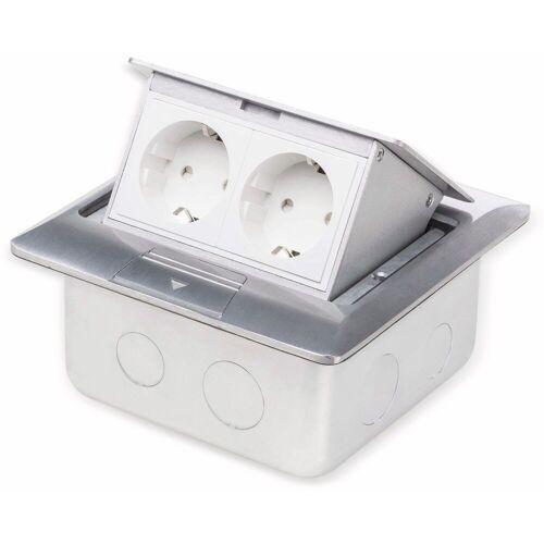 Boden-Einbausteckdose LEDmaxx, 2-fach Steckdose, Alu, eckig