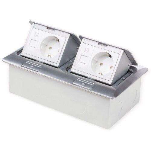 Boden-Einbausteckdose LEDmaxx, 2x Steckdose, 2x RJ45, Alu, eckig