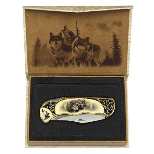 GT-DEKO - Fantasy und Schwert Shop Westernklappmesser Wolf