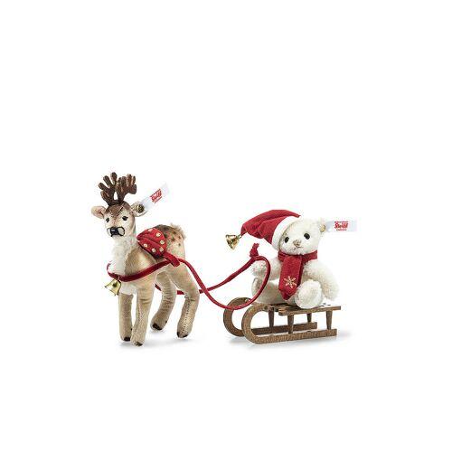 STEIFF Weihnachtsschlittenset 10cm