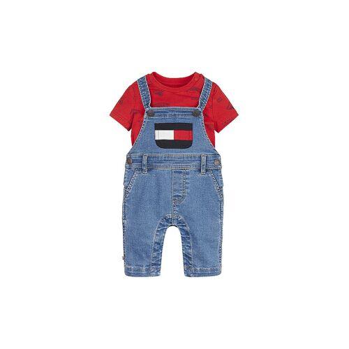 Tommy Hilfiger Jungen Baby Jeans-Latzhose mit T Shirt blau   74