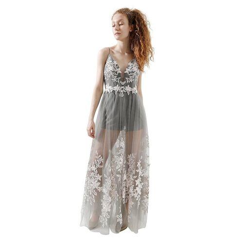 Unique Abendkleid grau   36