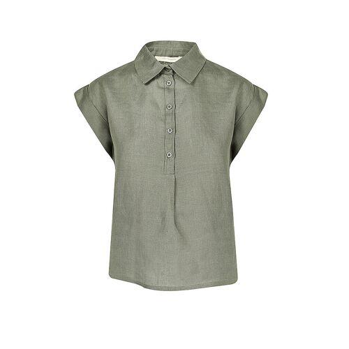LA FEE MARABOUTEE Leinen Bluse Nafila olive   Damen   Größe: 36   FA-TO-NAFILA
