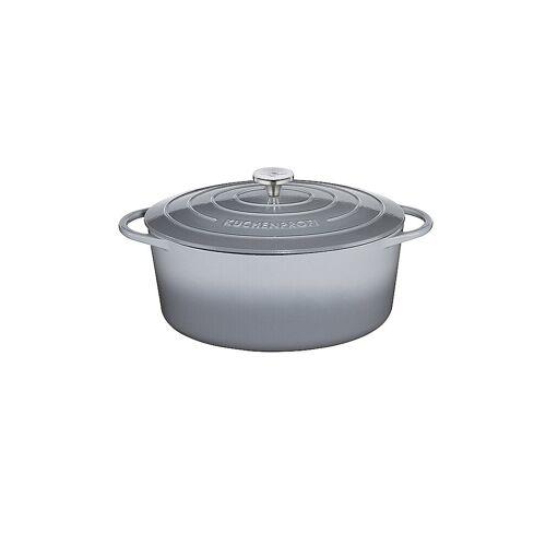 KÜCHENPROFI Gusseisen Bratentopf oval 35cm Grau grau