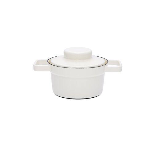 RIESS Emaille Topf mit Deckel Aromapot - Truehomeware 16cm 0,75l weiß