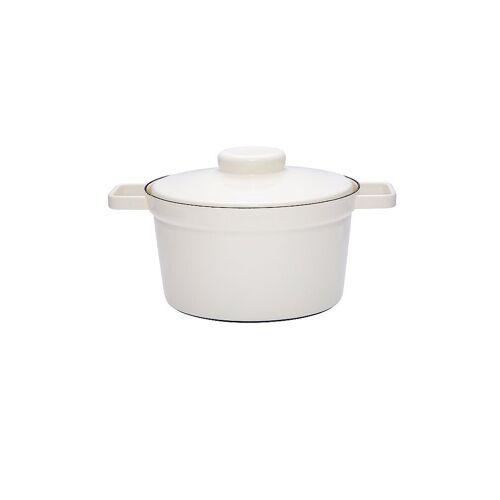 RIESS Emaille Topf mit Deckel Aromapot - Truehomeware 24cm 3,5l  weiß