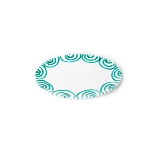 GMUNDNER KERAMIK Platte oval Grün Geflammt 28x21cm grün