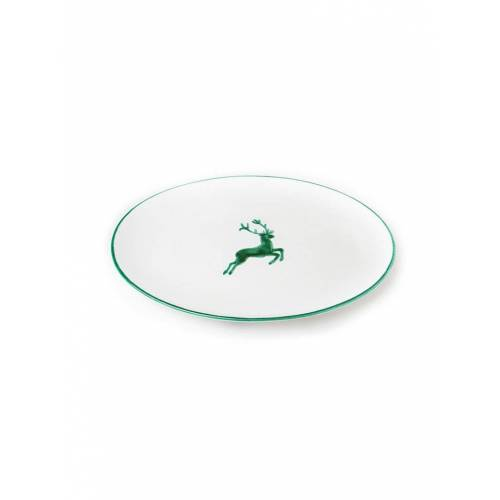GMUNDNER KERAMIK Platte oval  Grüner Hirsch 33x26cm grün