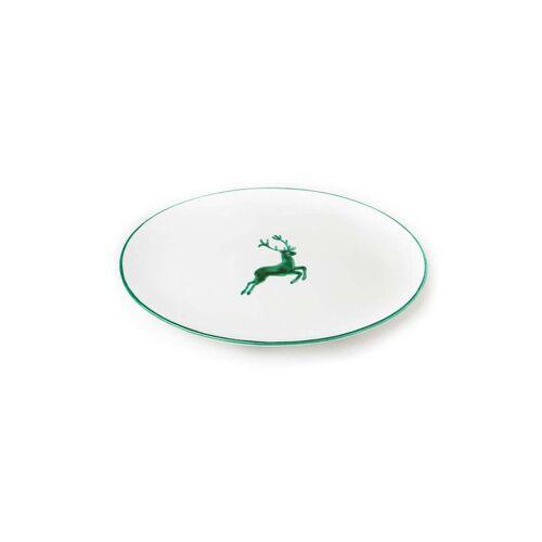 GMUNDNER KERAMIK Platte oval  Grüner Hirsch 28x21cm grün
