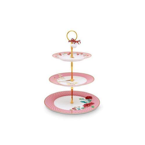 PIP STUDIO Porzellan-Etagere - Cake Stand 3-er Floral rosa