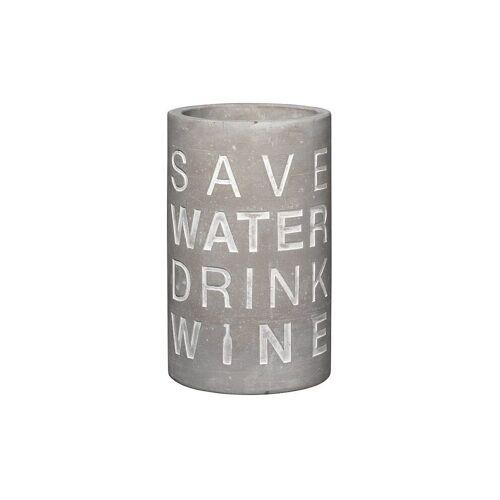 RAEDER Weinkühler aus Beton 21cm Save Water - Drink Wine grau