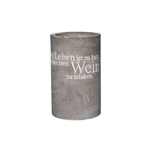 RAEDER Weinkühler aus Beton 21cm Das Leben ist zu kurz... grau