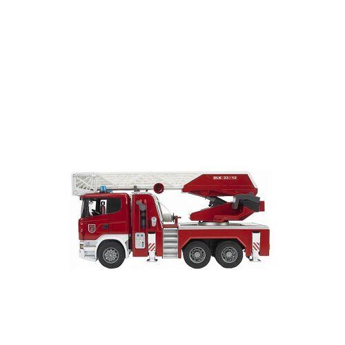 BRUDER Scania R-Serie Feuerwehrleiterwagen mit Wasserpumpe, Licht und Sound