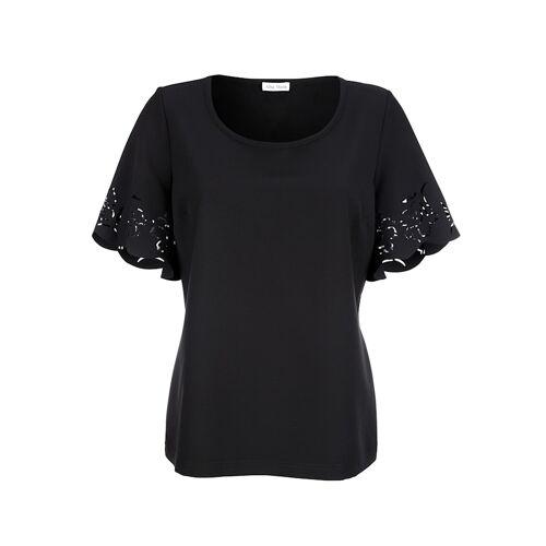 Alba Moda Shirt mit Lasercut am Ärmel, schwarz