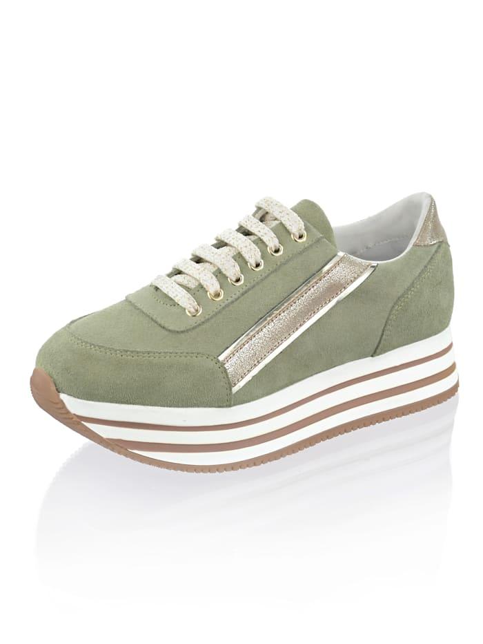 Alba Moda Sneaker aus Rindsveloursleder, grün