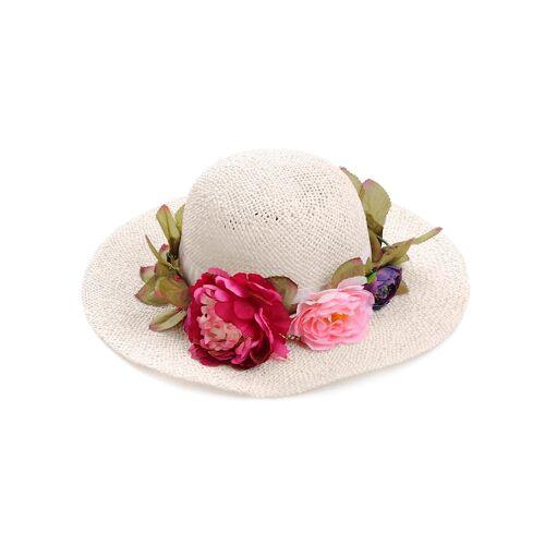 Alba Moda Hut mit Blumenkranz, weiß