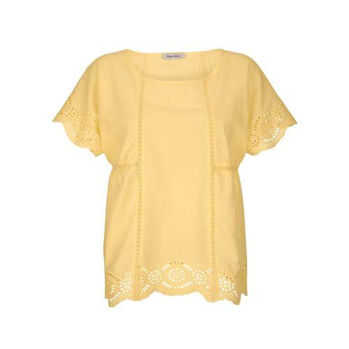 Alba Moda Bluse mit Lochstickerei, gelb