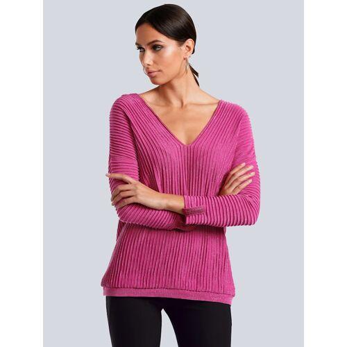 Alba Moda Pullover in besonderer Strickart, rosé