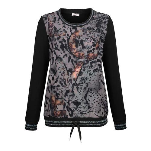 Alba Moda Sweatshirt mit sportiven Abschlüssen, schwarz