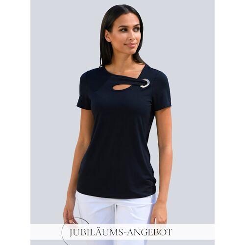 Alba Moda Shirt mit modischem Ausschnitt, blau