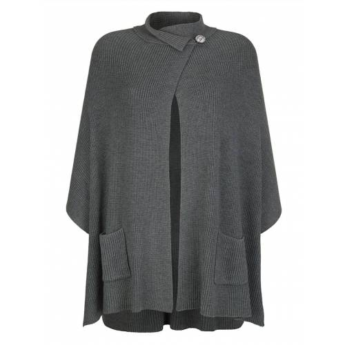 Alba Moda Strickjacke in modischer Cape-Form, grau