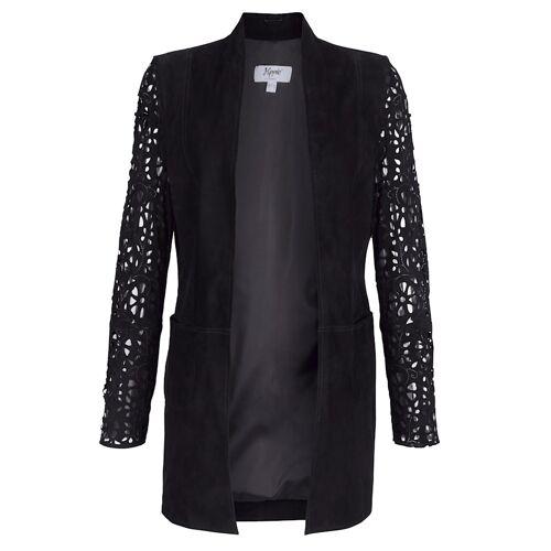 Alba Moda Lederjacke mit Lasercut Verzierung, schwarz