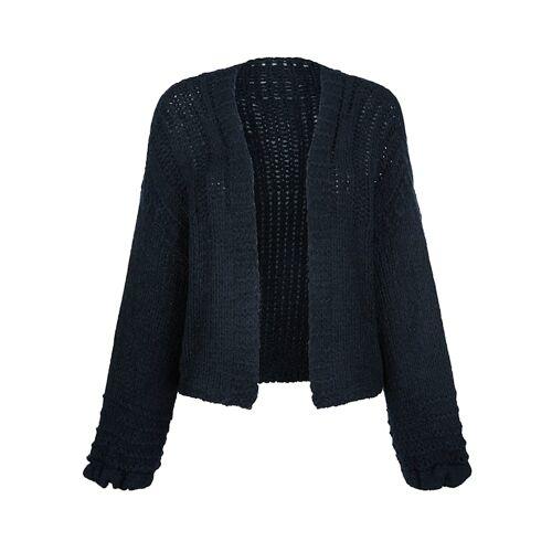 Alba Moda Strickjacke im modischen Grobstrick, blau