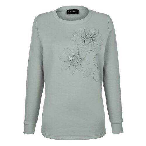 AMY VERMONT Sweatshirt mit Dekoblumen im Vorderteil, grün