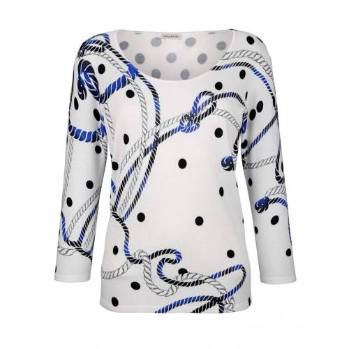 Alba Moda Pullover im Alba Moda exklusivem Print, weiß