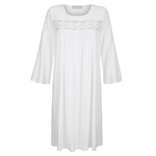 MONA Nachthemd mit romantischer Spitzenstickerei, weiß