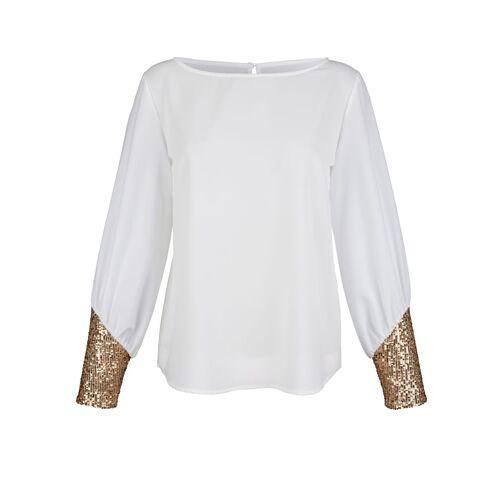 Alba Moda Bluse mit Pailletten, weiß