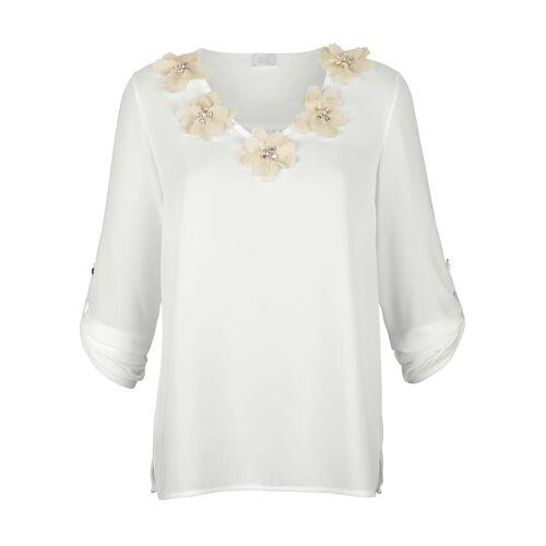 Alba Moda Bluse mit strassverzierten Stoffblumen, weiß