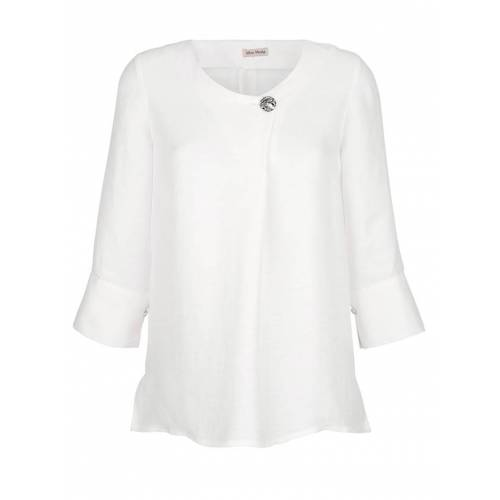 Alba Moda Bluse aus hochwertiger Leinenmischung, weiß