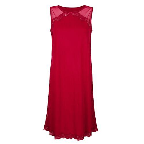 Simone Nachthemd mit romantischem Tülleinsatz, rot