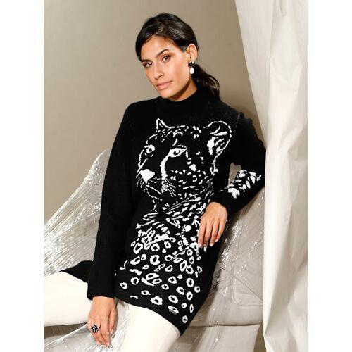 AMY VERMONT Longpullover mit Leoparden-Motiv, schwarz